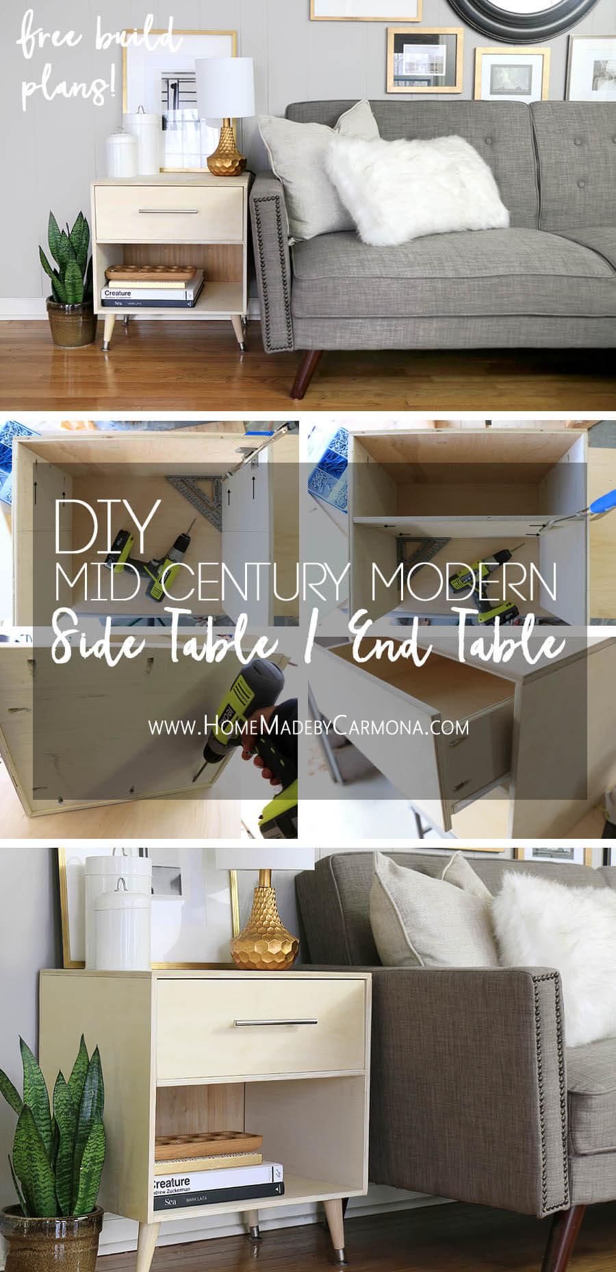 Free Build Plans - Mid-Century Modern Side Table - DIY End Table
