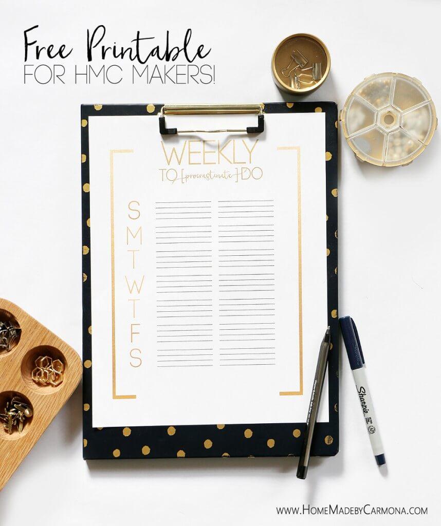 Free Printable To Do List for HMC Makers