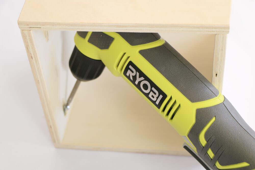 DIY Storage Boxes - Right angle drill - closeup
