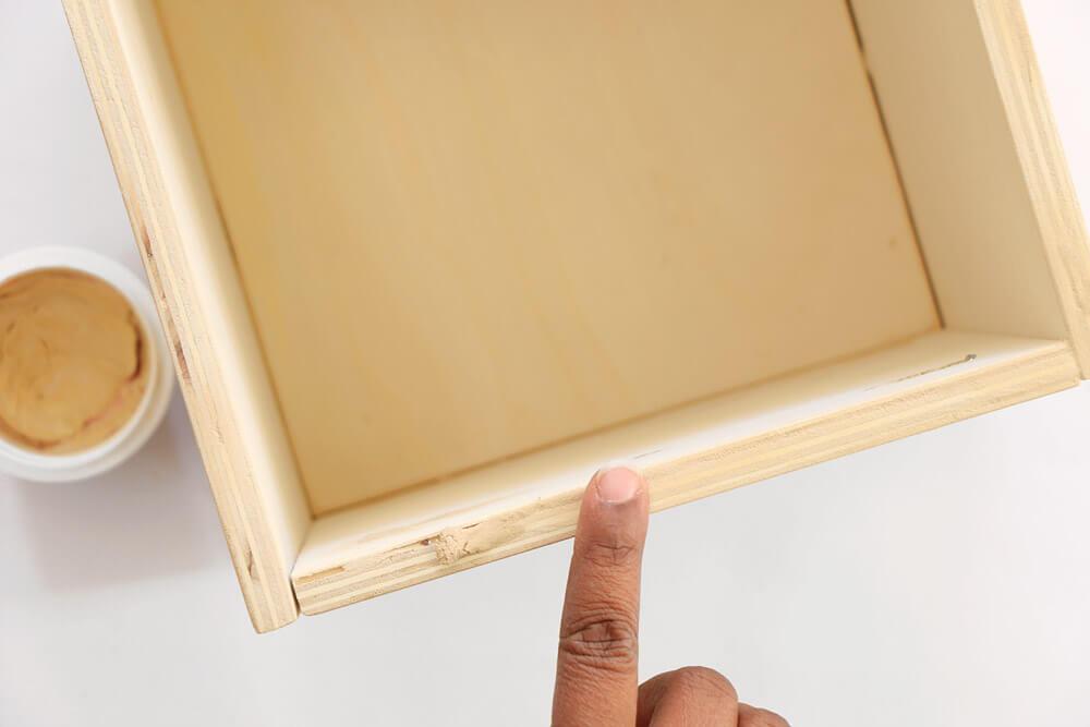 DIY Storage Boxes - wood filler - putty