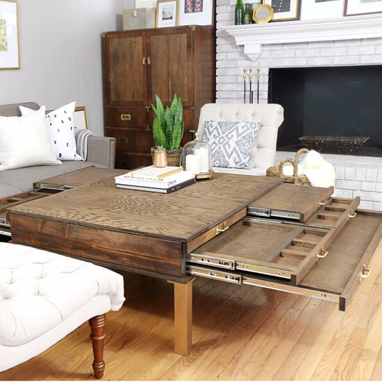 DIY Coffee Table With Compartments- 550