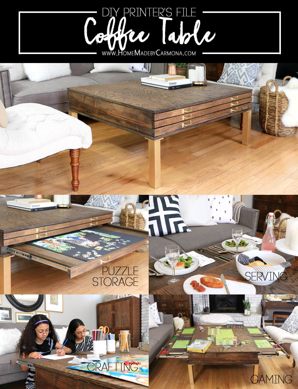 DIY Printer's File Coffee Table