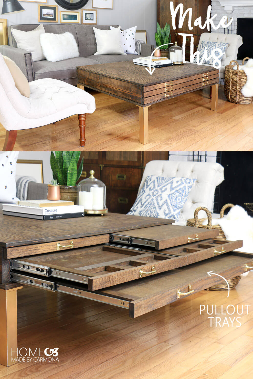 Make this DIY Coffee Table With Pullouts