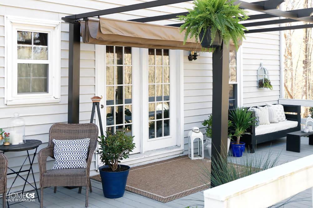 Porch Makeover - Freestanding Pergola - Mix and Match Furniture - DIY