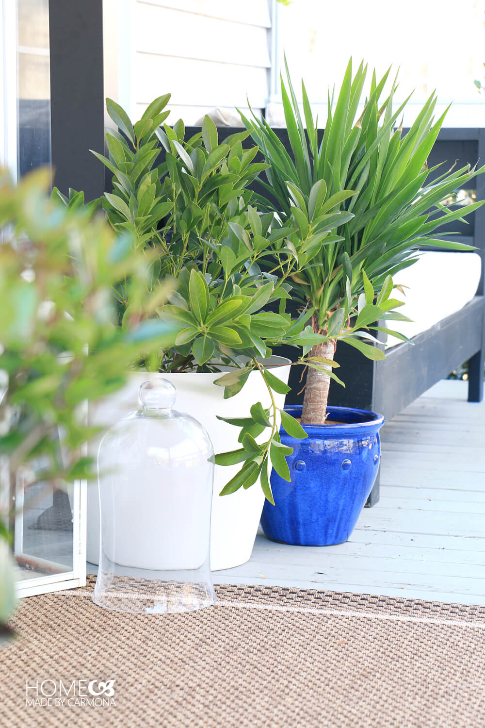 Porch Makeover - planter pop of color and lots of greenery