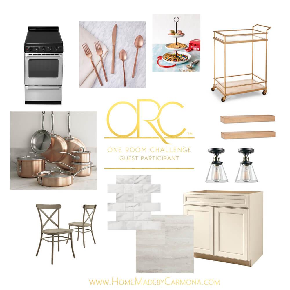 One Room Challenge - Cottage Kitchen Inspiration Board