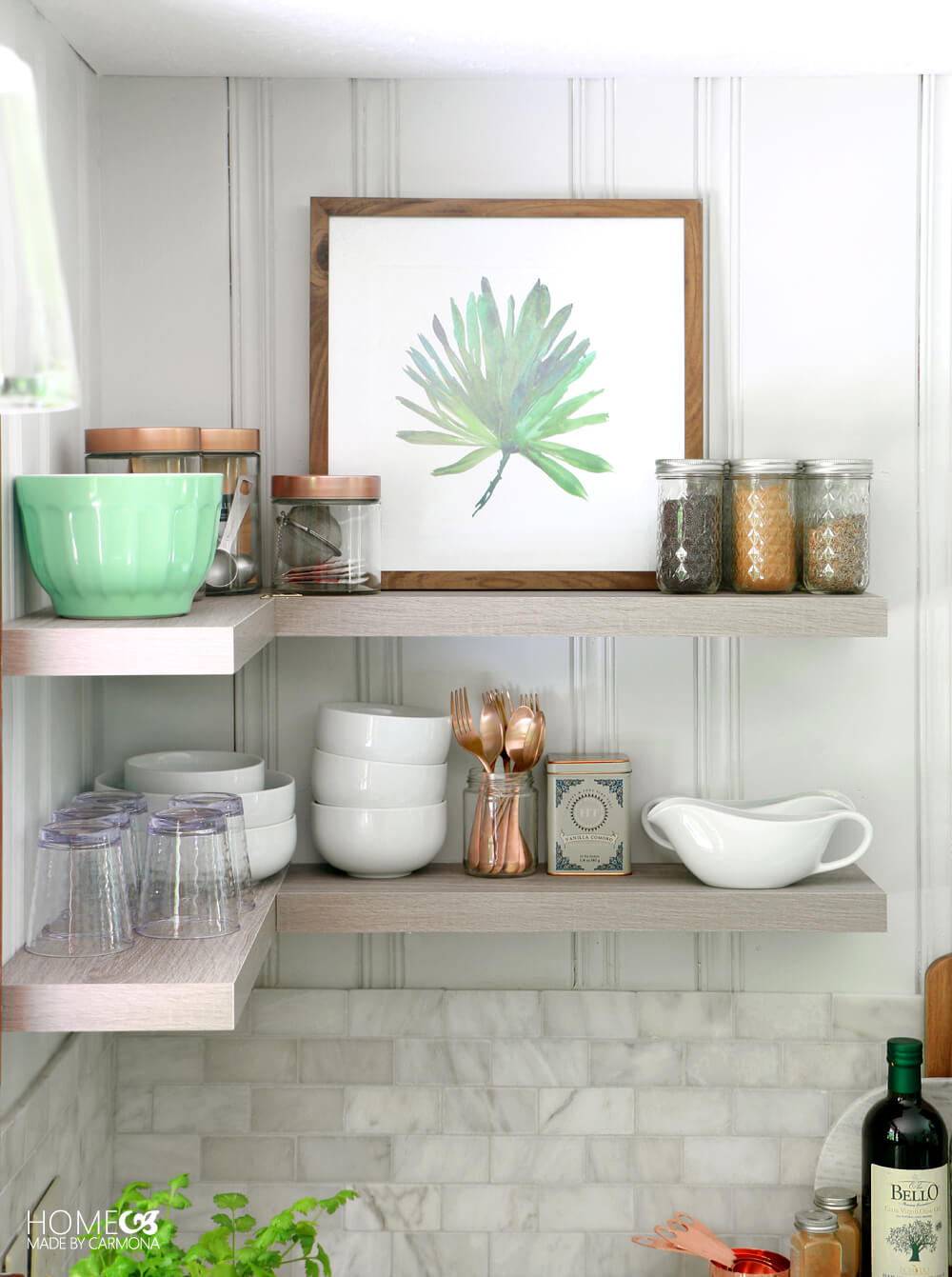Floating kitchen shelves - Cottage Kitchen Makeover