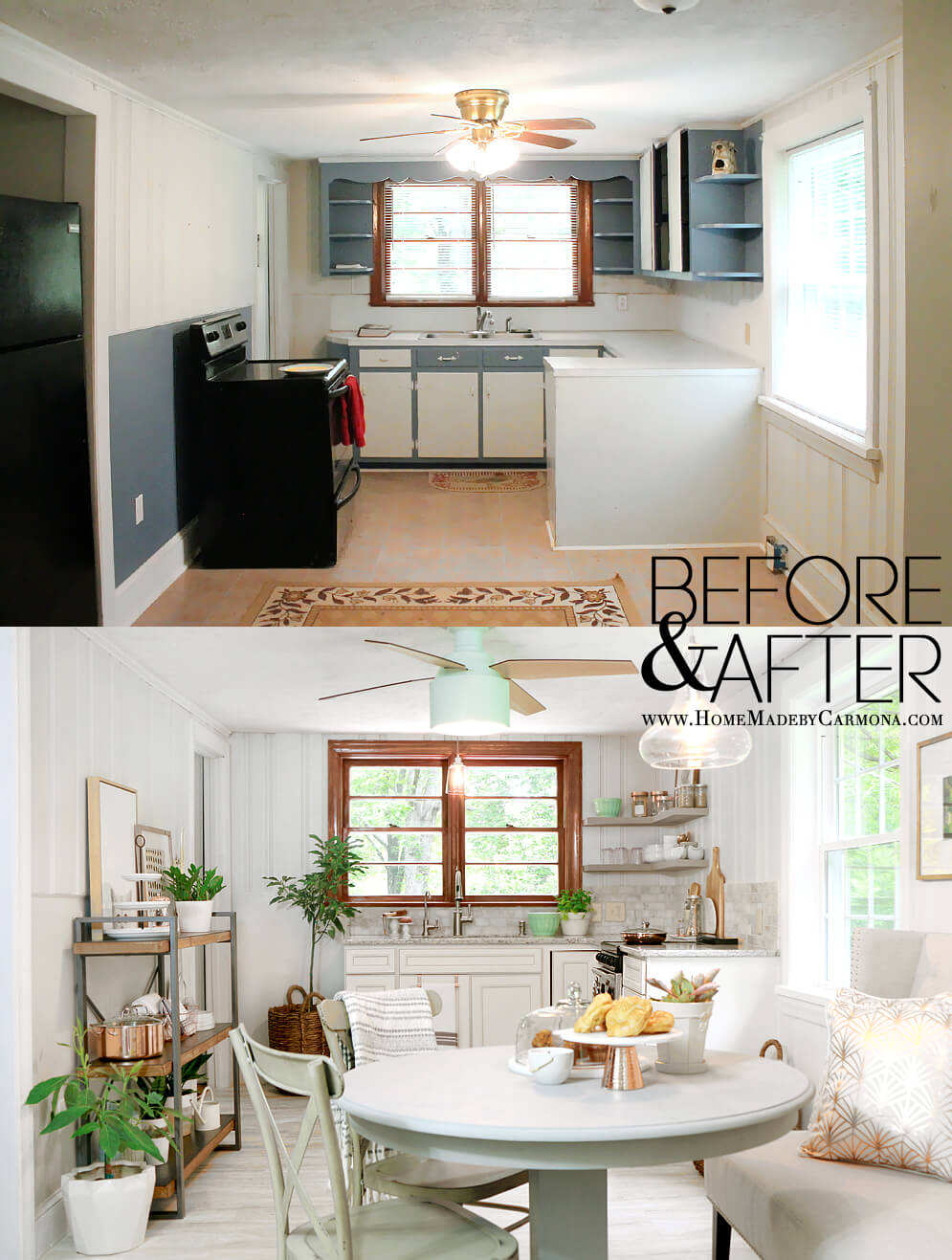 Kitchen Before and After -- Contemporary Cottage Style