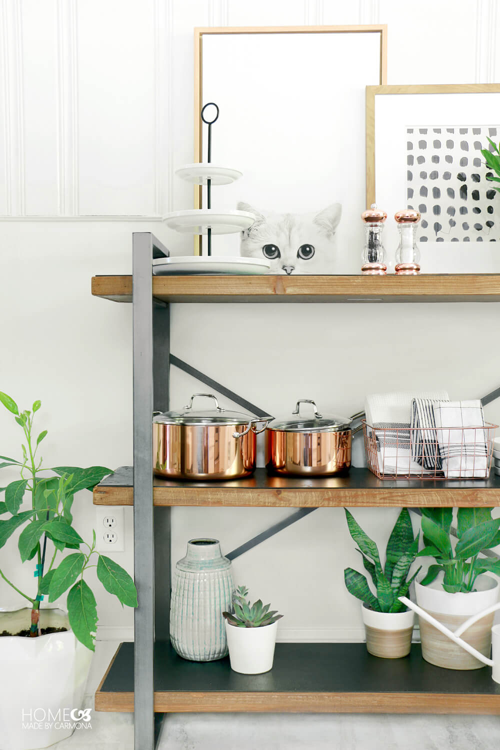 Small kitchen makeover - open kitchen storage and shelving