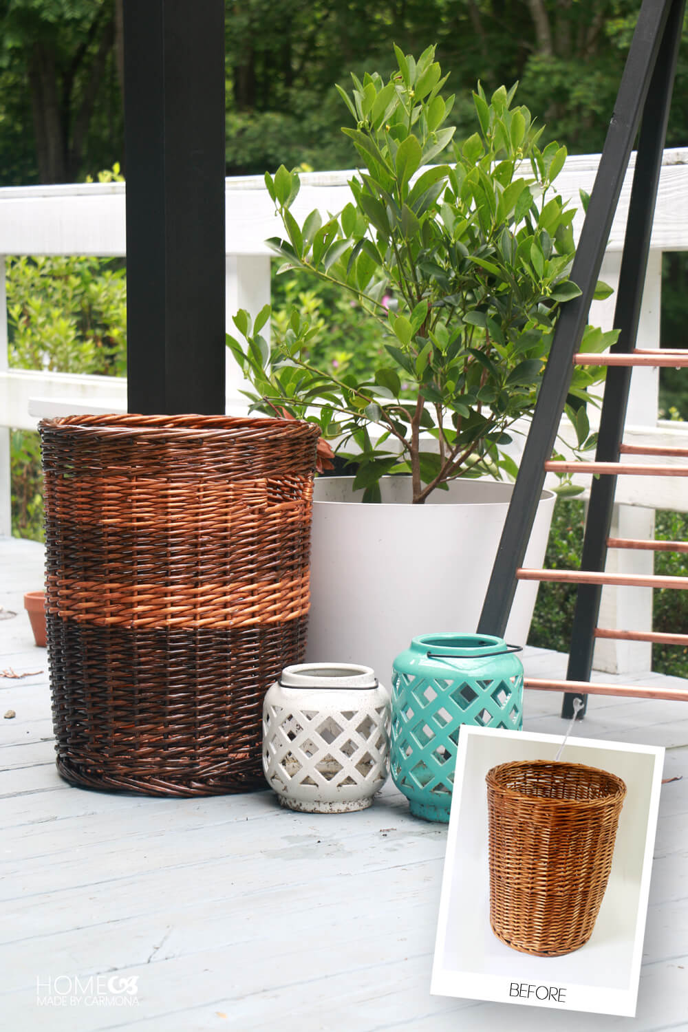 Basket Makeover - Stained Stripes