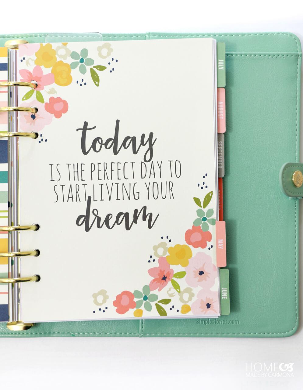 Carpe Diem Custom Planner - cute sayings on each page