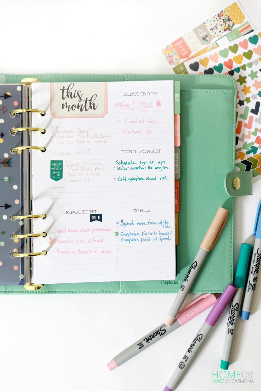 Carpe Diem Planner - Monthly inserts