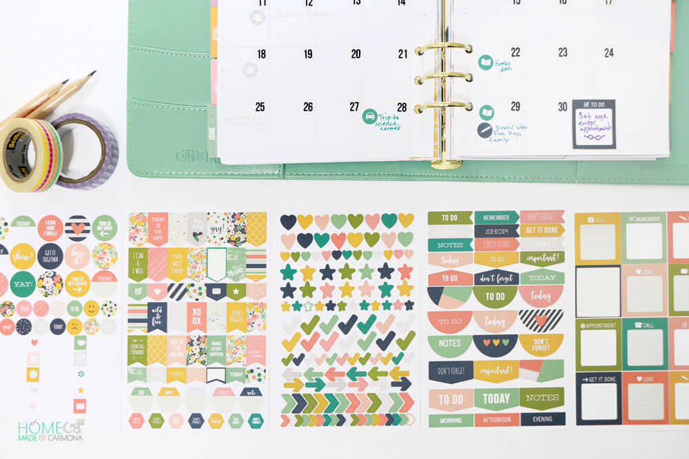 Custom planner - scheduler with helpful and cute stickers