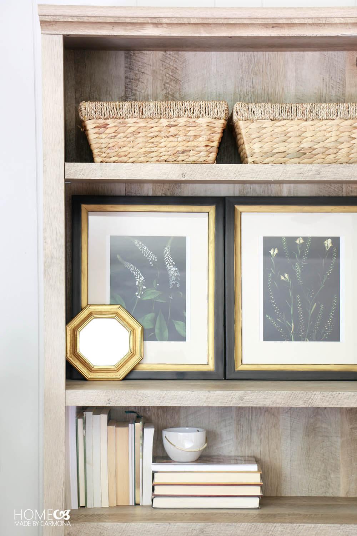 Bookshelf styling - cottage style