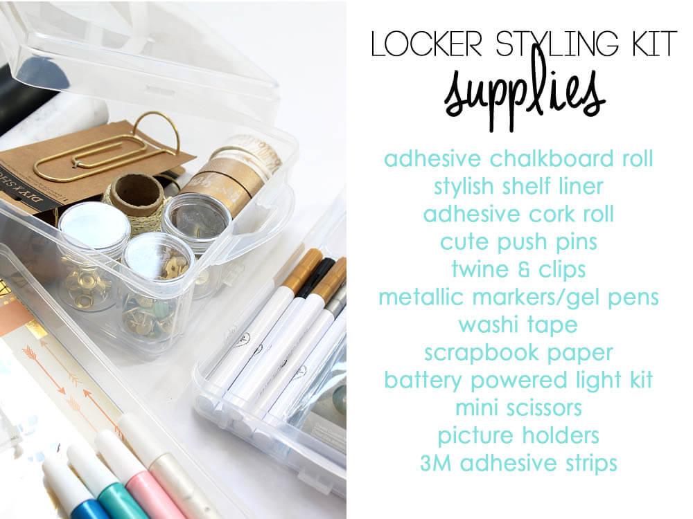 Locker Styling Kit Supply List