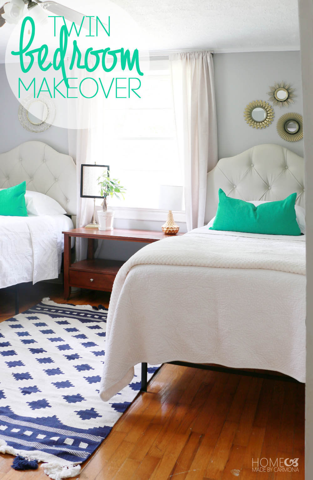 Twin Bedroom Makeover - cute room for teens