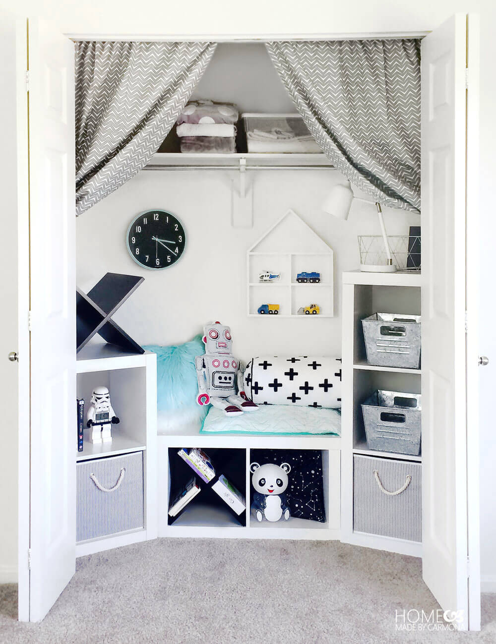 Closet Turned Kids Play And Storage Nook