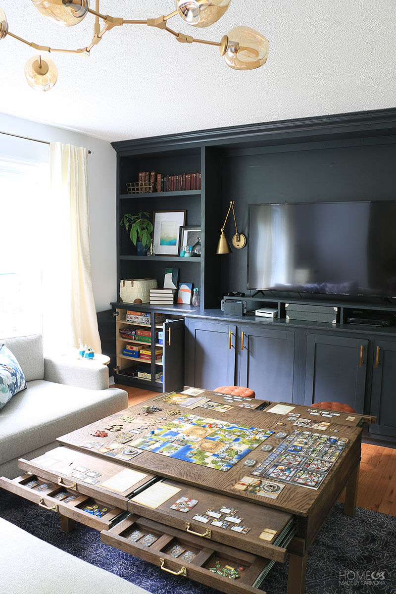 Built-in bookcases coffee table with games