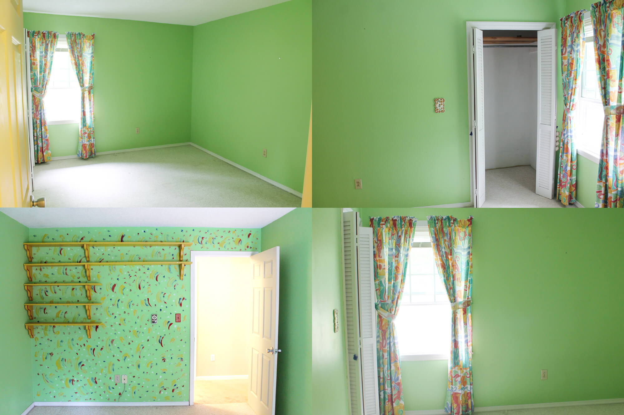 ugly green bedroom before
