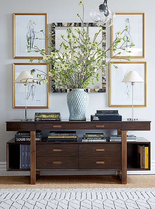 entryway console with art