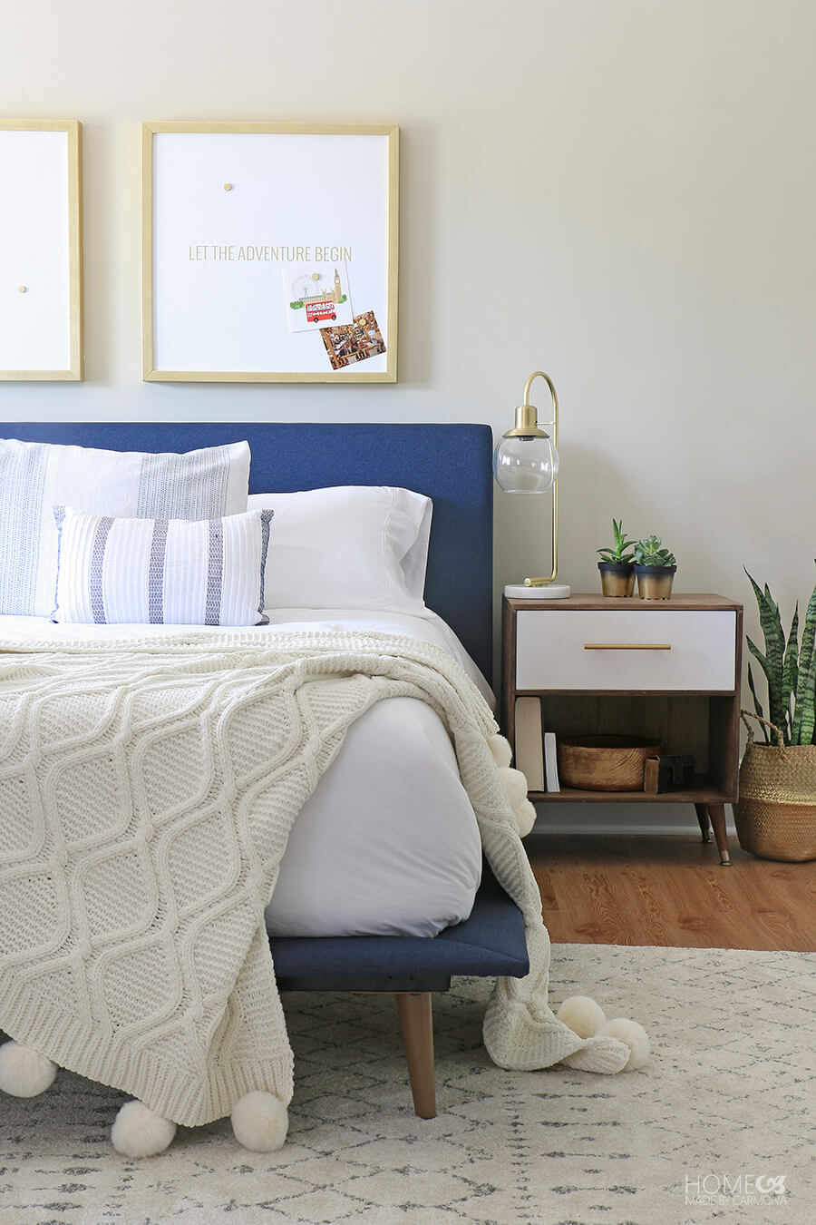 Mid-Century Modern Bed and Side Table
