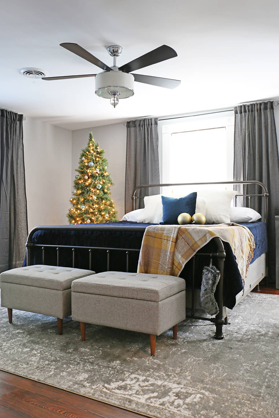 Blue Bedroom Decorated for Christmas