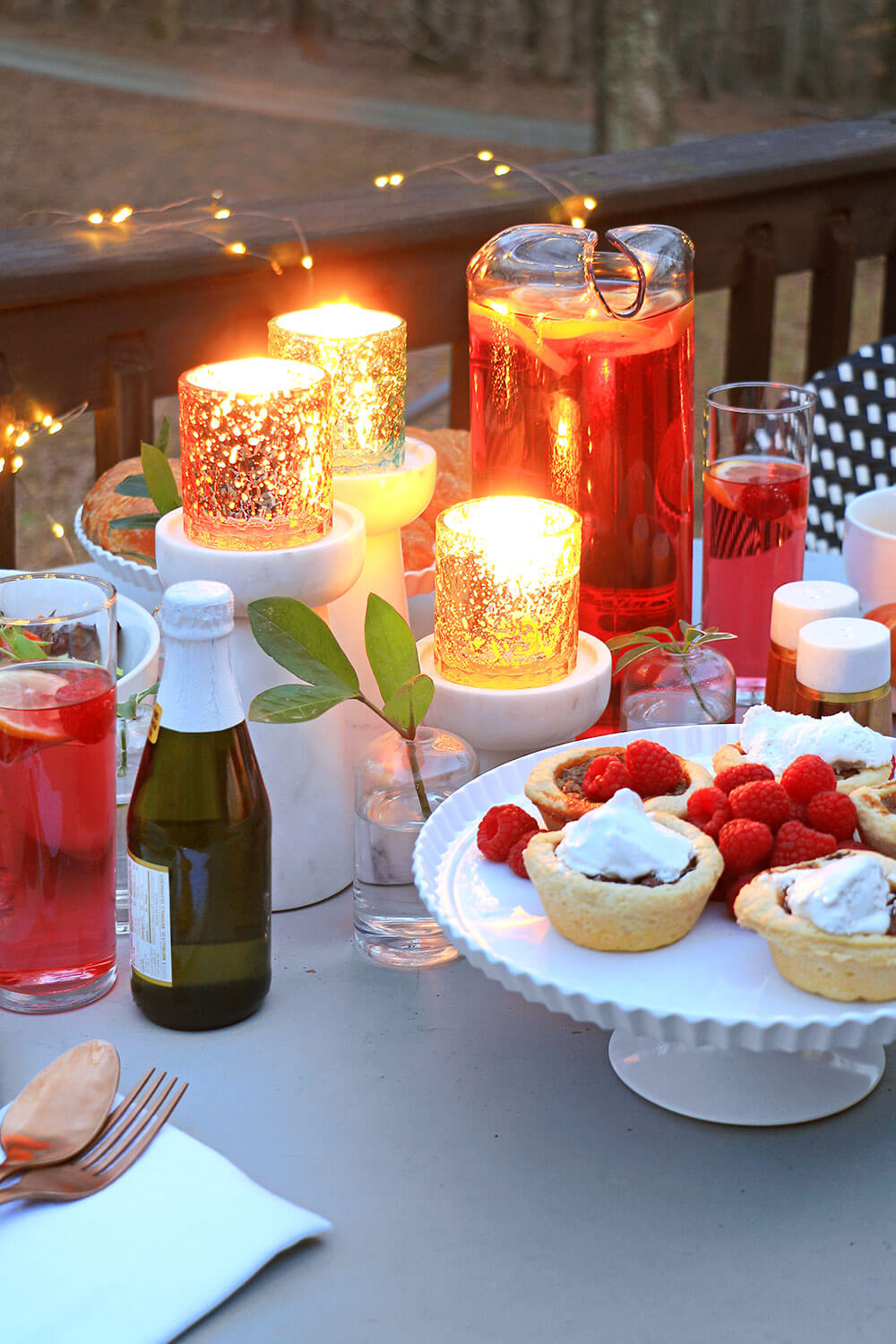 Candlelit outdoor dinner