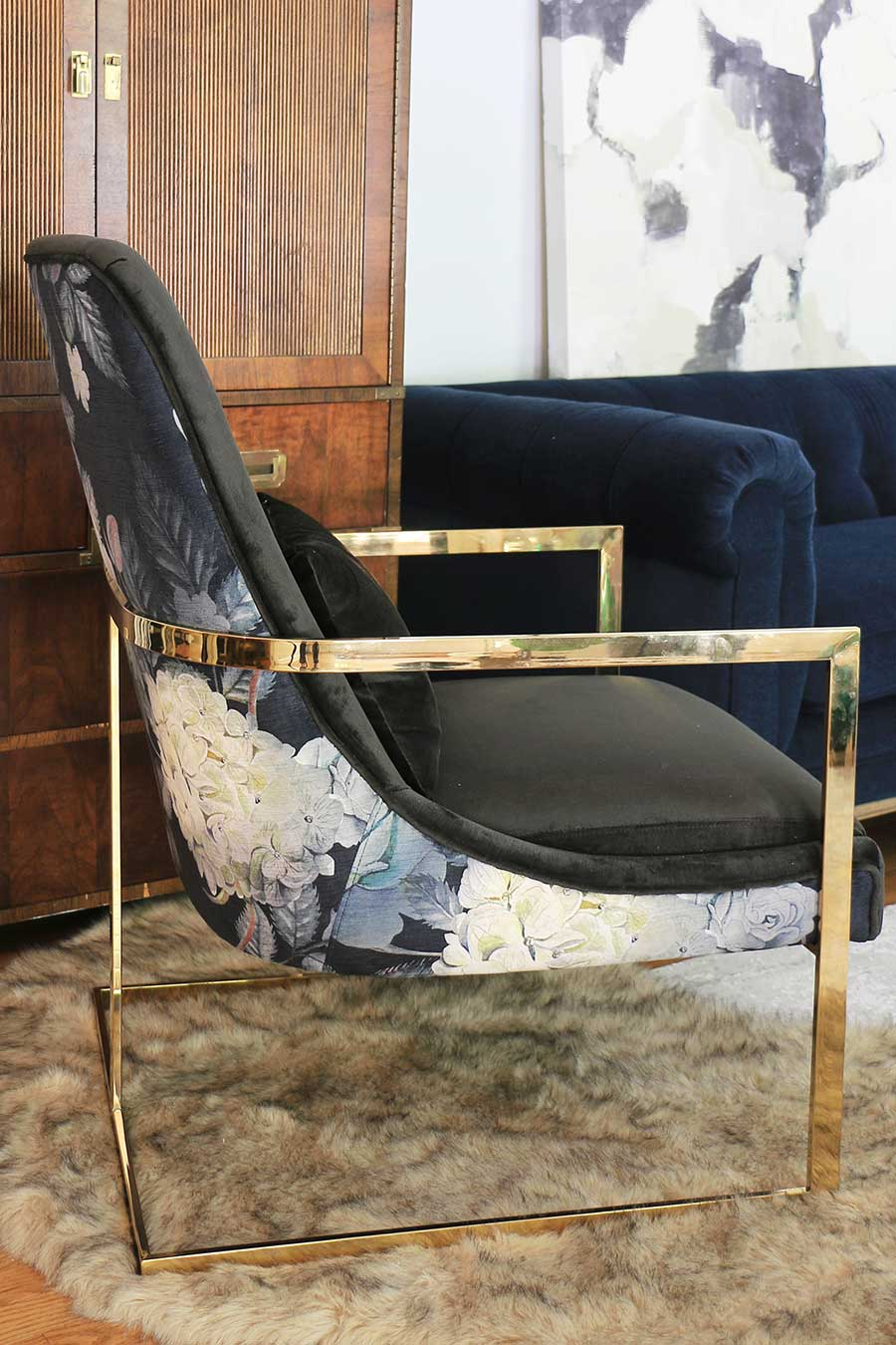 Armchair-with-floral-back