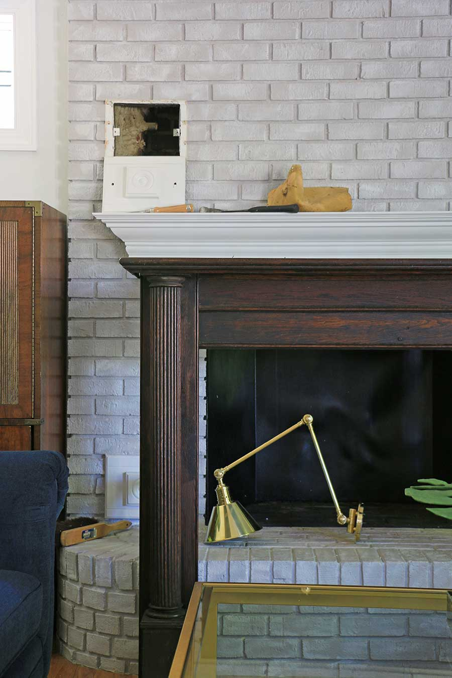 Fireplace with hole in brick