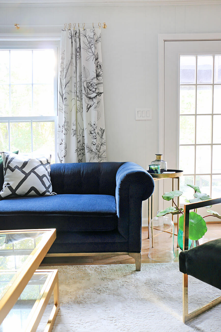 Blue sofa and accent table