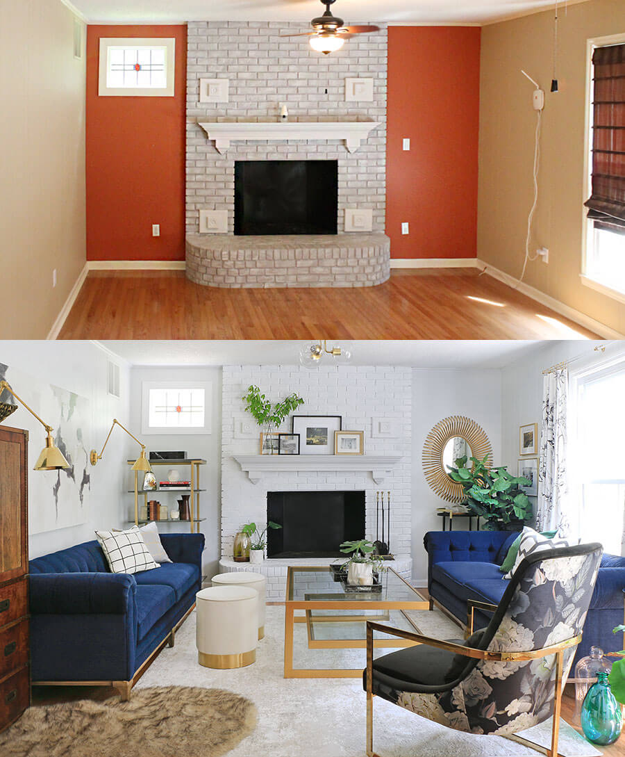 Living Room before and after split picture
