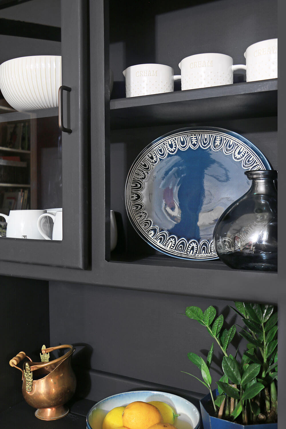 Oval Blue Dish in hutch