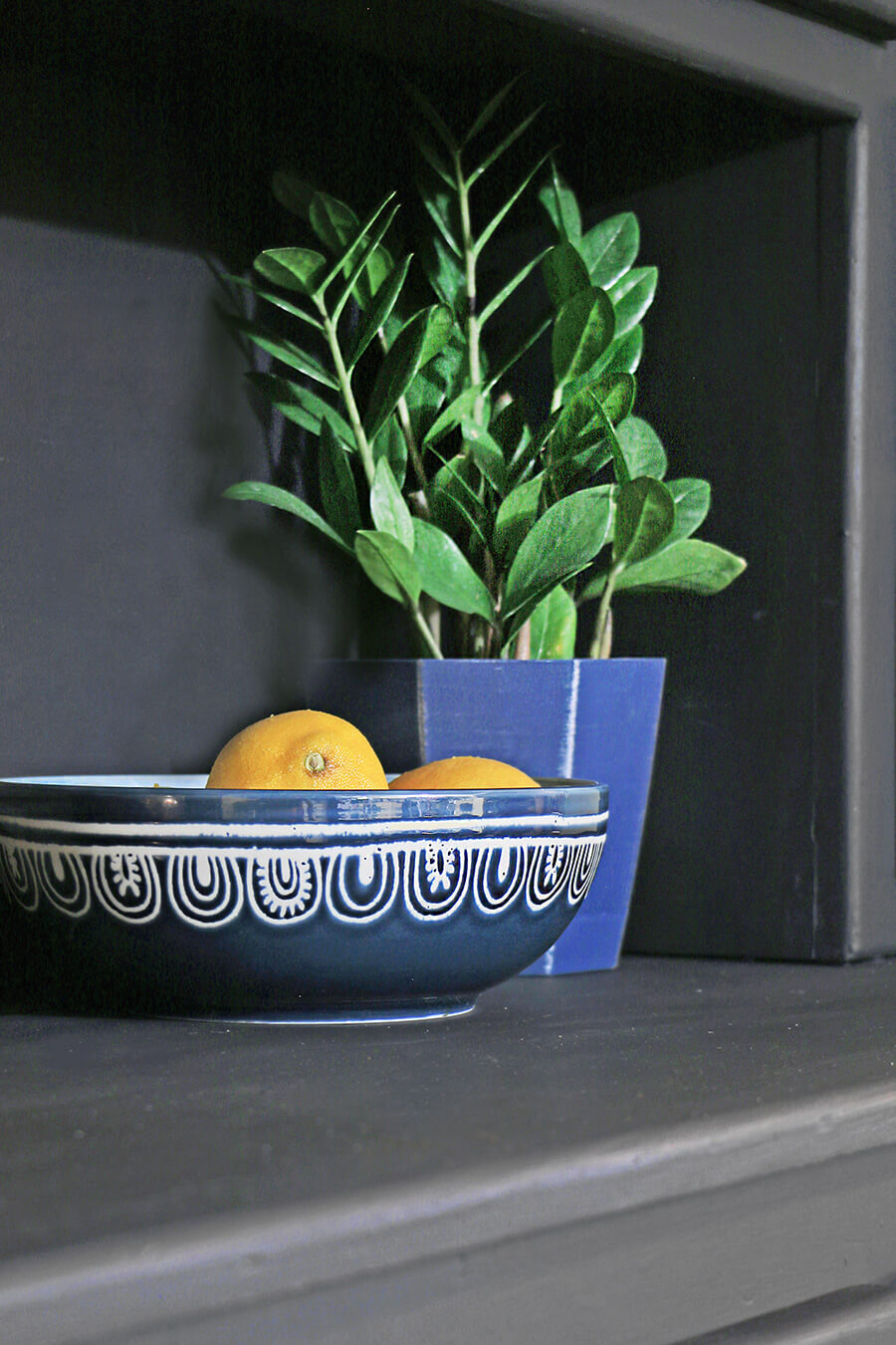 Teal bowl and houseplant
