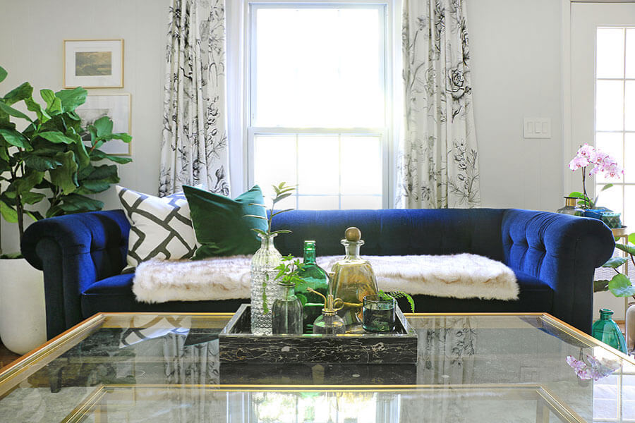 Blue-sofa-with-fur-skin-covering