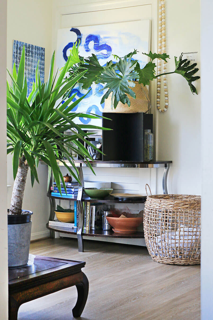 Console-table-and-plants