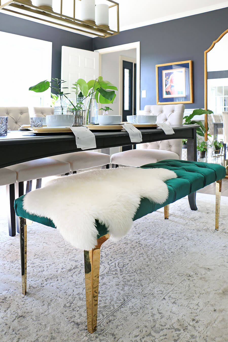 Fur-covered-bench-in-dining-room