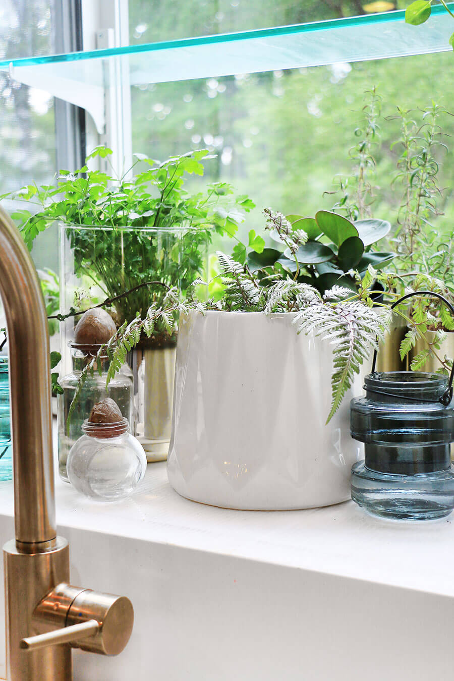 Garden window with stylish planter